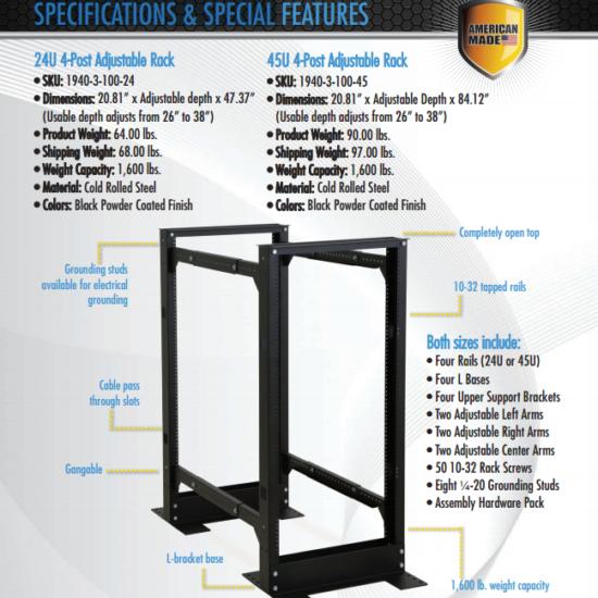 kendall howard 4 post adjustable rack 42u data center solutions