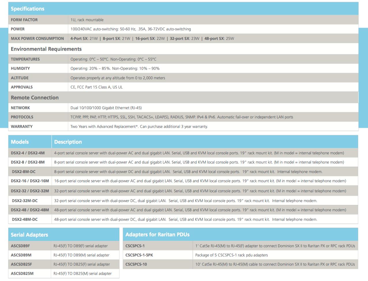 raritan dominion-sxii-data-sheet-v1209